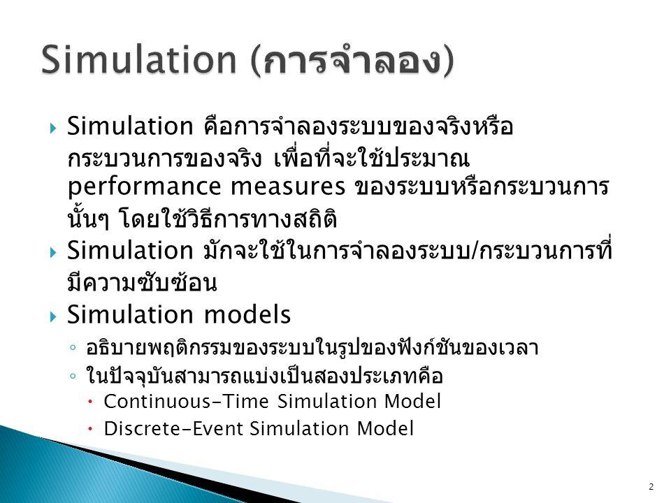  Simulation คือการจำลองระบบของจริงหรือ กระบวนการของจริง เพื่อที่จะใช้ประมาณ performance measures ของระบบหรือกระบวนการ นั้นๆ โดยใช้วิธีการทางสถิติ  S