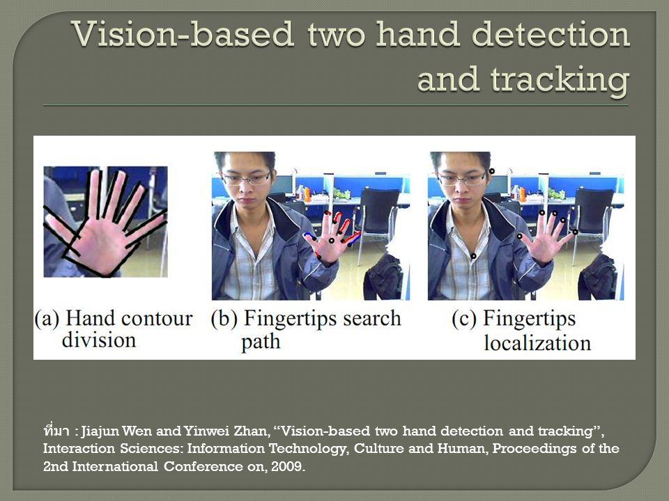 """ที่มา : Jiajun Wen and Yinwei Zhan, """"Vision-based two hand detection and tracking"""", Interaction Sciences: Information Technology, Culture and Human, P"""