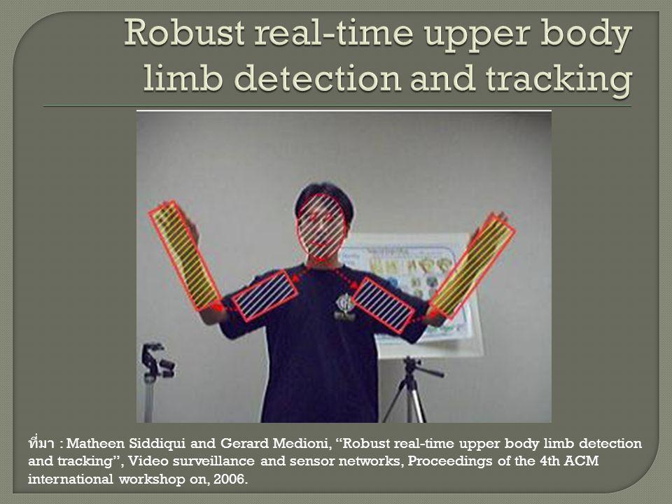 """ที่มา : Matheen Siddiqui and Gerard Medioni, """"Robust real-time upper body limb detection and tracking"""", Video surveillance and sensor networks, Procee"""