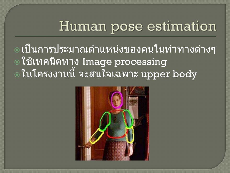  เป็นการประมาณตำแหน่งของคนในท่าทางต่างๆ  ใช้เทคนิคทาง Image processing  ในโครงงานนี้ จะสนใจเฉพาะ upper body
