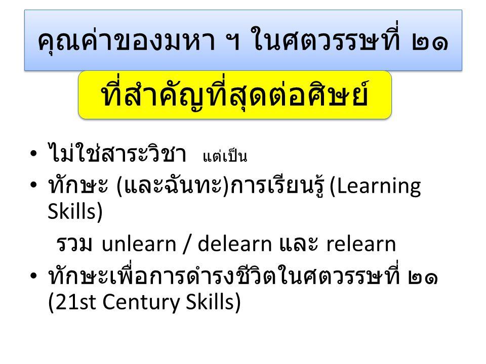 คุณค่าของมหา ฯ ในศตวรรษที่ ๒๑ ไม่ใช่สาระวิชา แต่เป็น ทักษะ ( และฉันทะ ) การเรียนรู้ (Learning Skills) รวม unlearn / delearn และ relearn ทักษะเพื่อการดำรงชีวิตในศตวรรษที่ ๒๑ (21st Century Skills) ที่สำคัญที่สุดต่อศิษย์