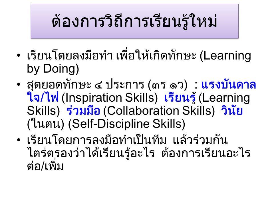ต้องการวิถีการเรียนรู้ใหม่ เรียนโดยลงมือทำ เพื่อให้เกิดทักษะ (Learning by Doing) สุดยอดทักษะ ๔ ประการ (๓ร ๑ว) : แรงบันดาล ใจ/ไฟ (Inspiration Skills) เรียนรู้ (Learning Skills) ร่วมมือ (Collaboration Skills) วินัย (ในตน) (Self-Discipline Skills) เรียนโดยการลงมือทำเป็นทีม แล้วร่วมกัน ไตร่ตรองว่าได้เรียนรู้อะไร ต้องการเรียนอะไร ต่อ/เพิ่ม