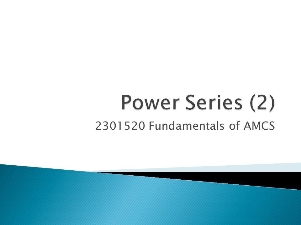2301520 Fundamentals of AMCS