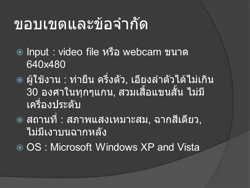 ขอบเขตและข้อจำกัด  Input : video file หรือ webcam ขนาด 640x480  ผู้ใช้งาน : ท่ายืน ครึ่งตัว, เอียงลำตัวได้ไม่เกิน 30 องศาในทุกๆแกน, สวมเสื้อแขนสั้น