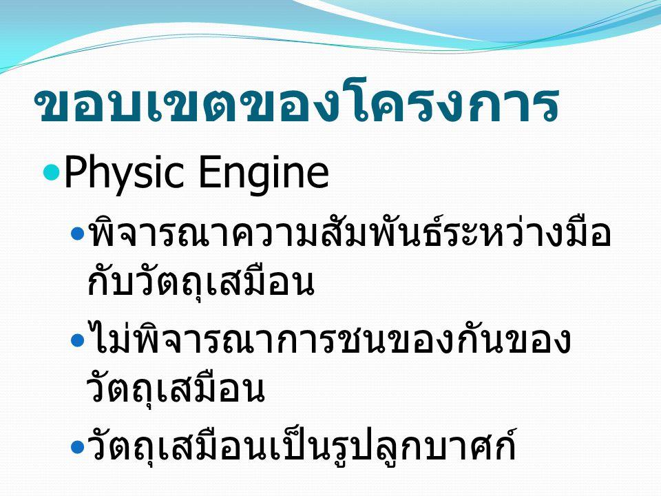 ขอบเขตของโครงการ Physic Engine พิจารณาความสัมพันธ์ระหว่างมือ กับวัตถุเสมือน ไม่พิจารณาการชนของกันของ วัตถุเสมือน วัตถุเสมือนเป็นรูปลูกบาศก์