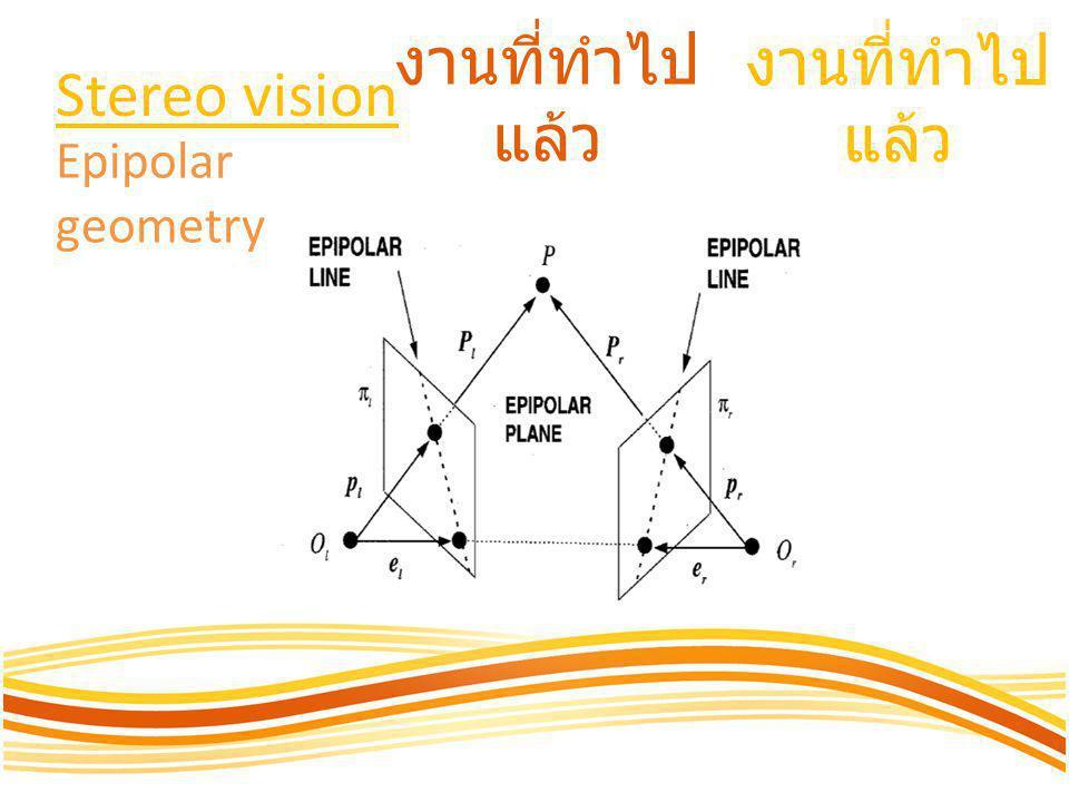 งานที่ทำไป แล้ว Stereo vision Epipolar geometry