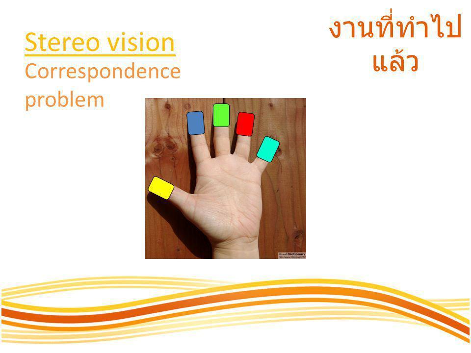 งานที่ทำไป แล้ว Stereo vision Correspondence problem