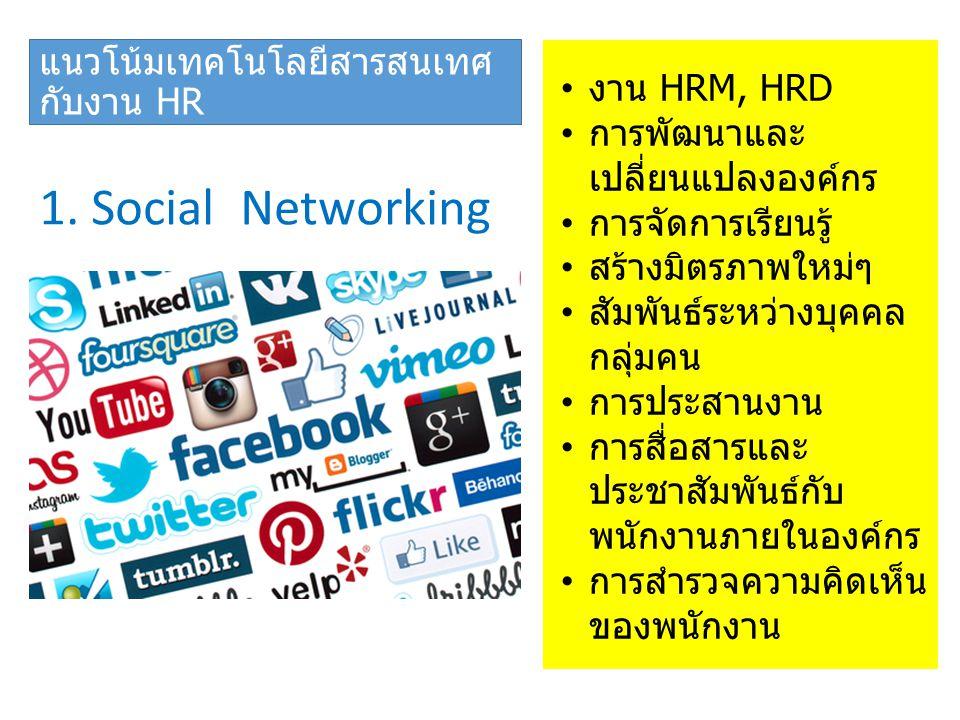 แนวโน้มเทคโนโลยีสารสนเทศ กับงาน HR 1. Social Networking งาน HRM, HRD การพัฒนาและ เปลี่ยนแปลงองค์กร การจัดการเรียนรู้ สร้างมิตรภาพใหม่ๆ สัมพันธ์ระหว่าง