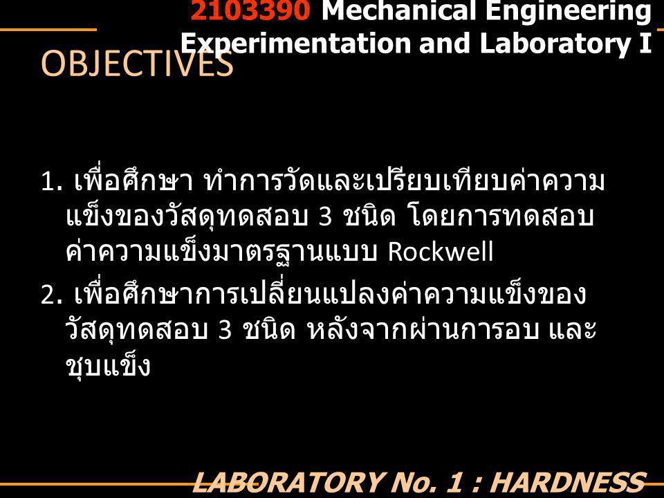 Q&A 2103390 Mechanical Engineering Experimentation and Laboratory I LABORATORY No.