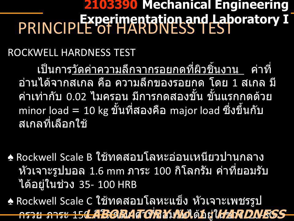 ROCKWELL HARDNESS TESTER MODEL : AVERY type 6402 Hardness Tester Rockwell Standard Scale B,C available 2103390 Mechanical Engineering Experimentation and Laboratory I LABORATORY No.