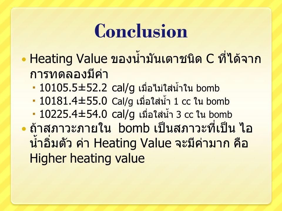 Conclusion Heating Value ของน้ำมันเตาชนิด C ที่ได้จาก การทดลองมีค่า  10105.5±52.2 cal/g เมื่อไม่ใส่น้ำใน bomb  10181.4±55.0 Cal/g เมื่อใส่น้ำ 1 cc ใ