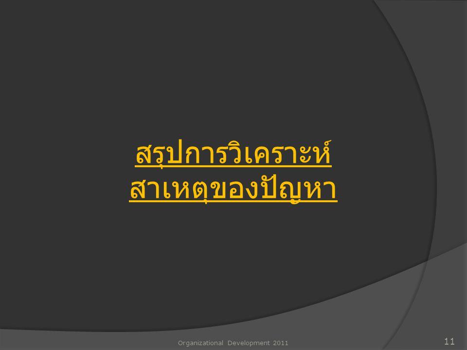 Organizational Development 2011 11 สรุปการวิเคราะห์ สาเหตุของปัญหา