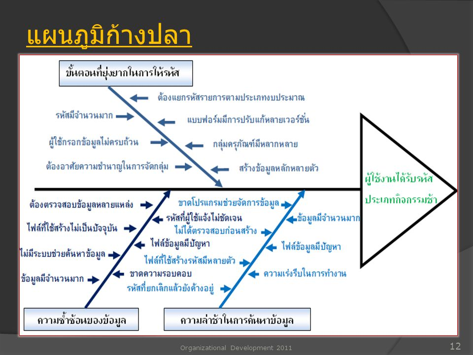 Organizational Development 2011 12 แผนภูมิก้างปลา