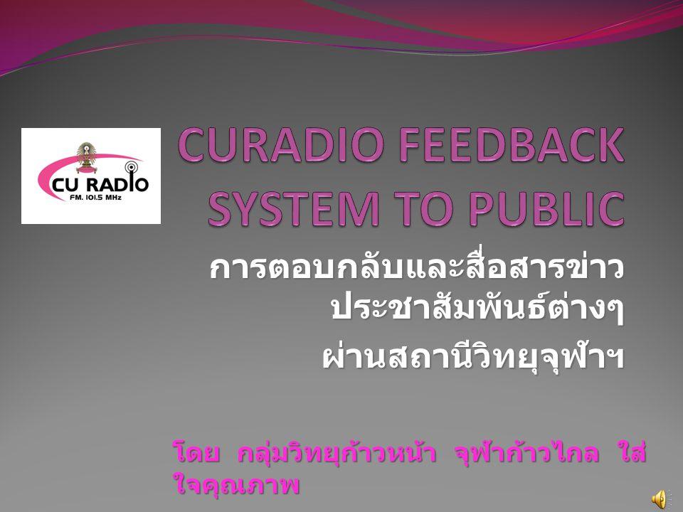 การตอบกลับและสื่อสารข่าว ประชาสัมพันธ์ต่างๆ ผ่านสถานีวิทยุจุฬาฯ ผ่านสถานีวิทยุจุฬาฯ โดย กลุ่มวิทยุก้าวหน้า จุฬาก้าวไกล ใส่ ใจคุณภาพ