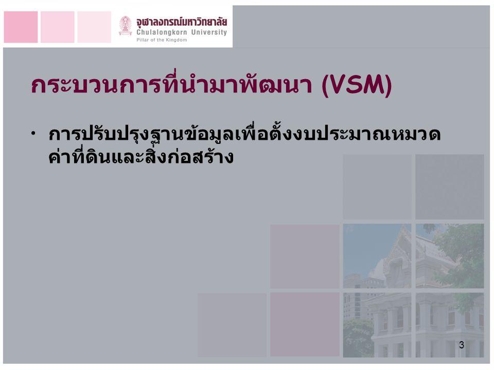 3 กระบวนการที่นำมาพัฒนา (VSM) การปรับปรุงฐานข้อมูลเพื่อตั้งงบประมาณหมวด ค่าที่ดินและสิ่งก่อสร้าง