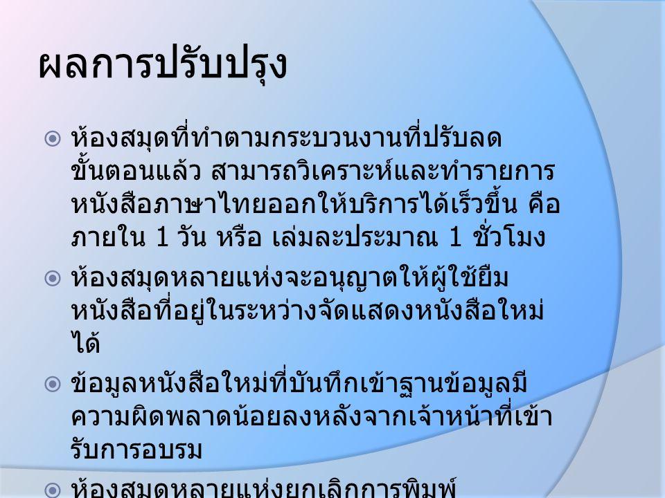 ผลการปรับปรุง  ห้องสมุดที่ทำตามกระบวนงานที่ปรับลด ขั้นตอนแล้ว สามารถวิเคราะห์และทำรายการ หนังสือภาษาไทยออกให้บริการได้เร็วขึ้น คือ ภายใน 1 วัน หรือ เ