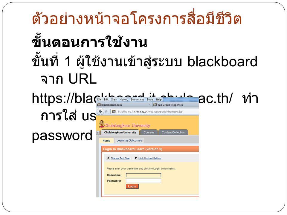 ตัวอย่างหน้าจอโครงการสื่อมีชีวิต ขั้นตอนการใช้งาน ขั้นที่ 1 ผู้ใช้งานเข้าสู่ระบบ blackboard จาก URL https://blackboard.it.chula.ac.th/ ทำ การใส่ username และ password