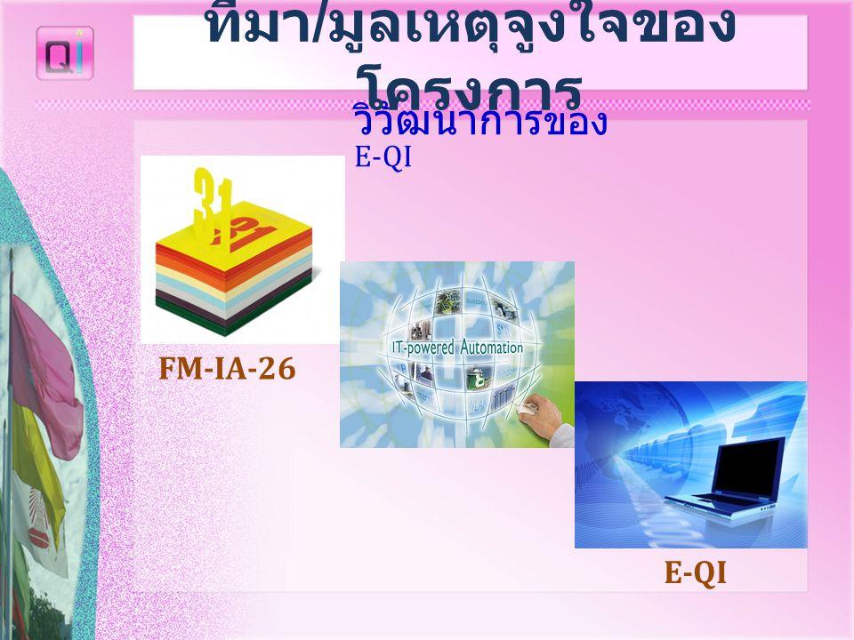 วิวัฒนาการ ของ E-QI FM-IA-26 E-QI ที่มา / มูลเหตุจูงใจของ โครงการ