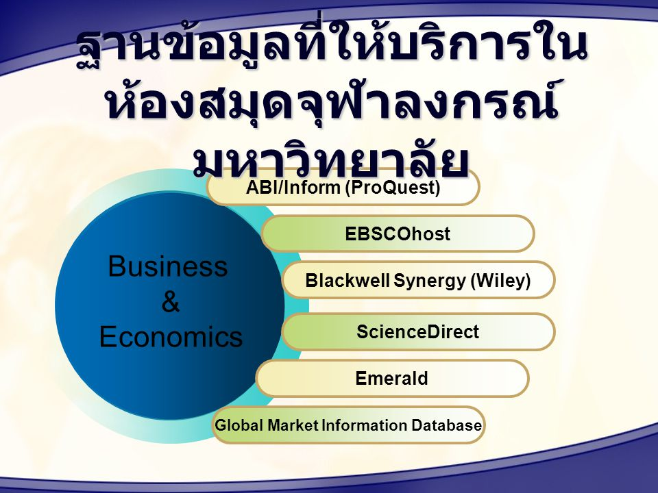 ABI/Inform (ProQuest) EBSCOhost Blackwell Synergy (Wiley) ScienceDirect Emerald Business & Economics Global Market Information Database ฐานข้อมูลที่ให