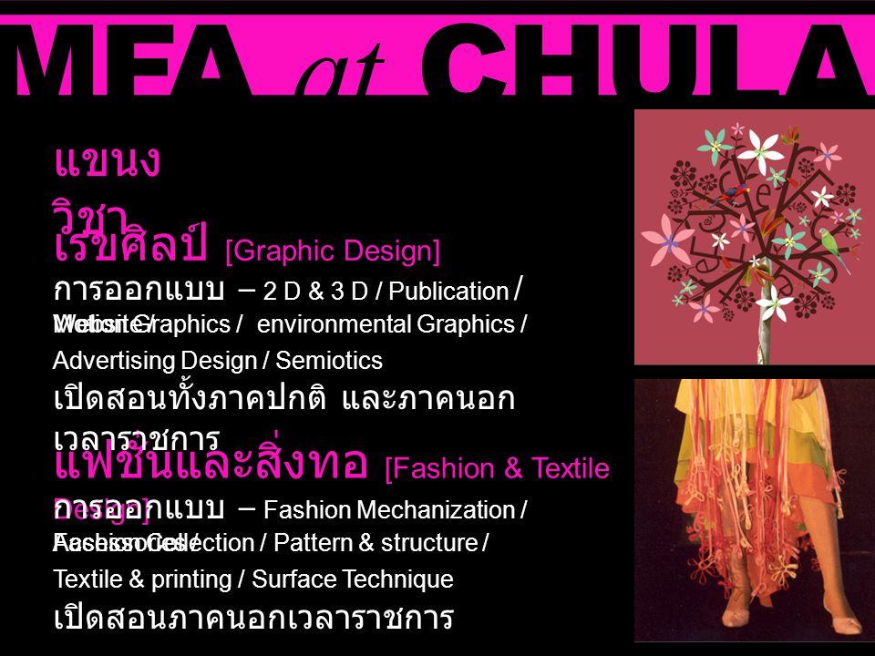 MFA at CHULA เรขศิลป์ [Graphic Design] แขนง วิชา แฟชั่นและสิ่งทอ [Fashion & Textile Design] การออกแบบ – 2 D & 3 D / Publication / Website / Advertisin
