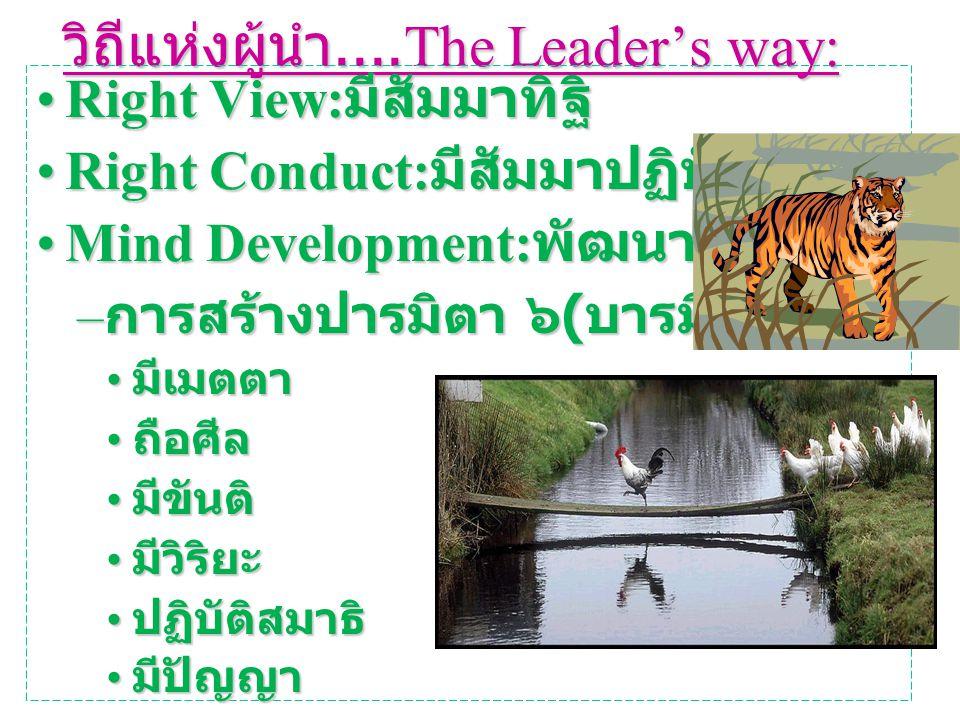 วิถีแห่งผู้นำ....The Leader's way: Right View: มีสัมมาทิฐิRight View: มีสัมมาทิฐิ Right Conduct: มีสัมมาปฏิบัติRight Conduct: มีสัมมาปฏิบัติ Mind Development: พัฒนาจิตMind Development: พัฒนาจิต – การสร้างปารมิตา ๖ ( บารมี ๖ ) มีเมตตา มีเมตตา ถือศีล ถือศีล มีขันติ มีขันติ มีวิริยะ มีวิริยะ ปฏิบัติสมาธิ ปฏิบัติสมาธิ มีปัญญา มีปัญญา