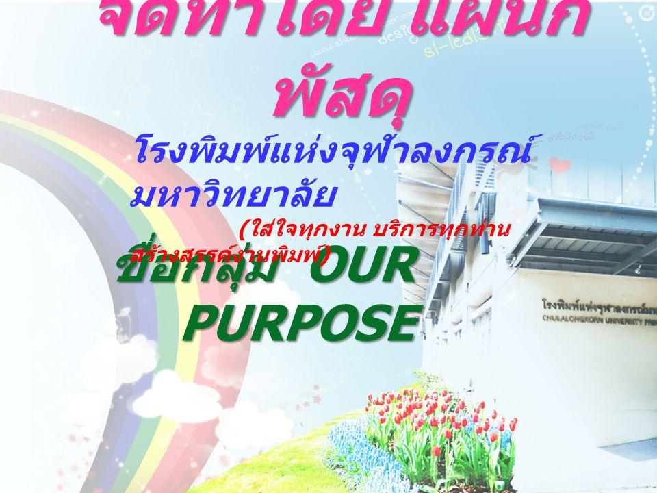 จัดทำโดย แผนก พัสดุ ชื่อกลุ่ม OUR PURPOSE โรงพิมพ์แห่งจุฬาลงกรณ์ มหาวิทยาลัย ( ใส่ใจทุกงาน บริการทุกท่าน สร้างสรรค์งานพิมพ์ )