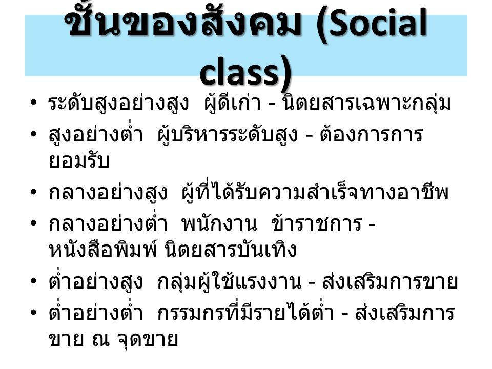 ชั้นของสังคม (Social class) ระดับสูงอย่างสูง ผู้ดีเก่า - นิตยสารเฉพาะกลุ่ม สูงอย่างต่ำ ผู้บริหารระดับสูง - ต้องการการ ยอมรับ กลางอย่างสูง ผู้ที่ได้รับ