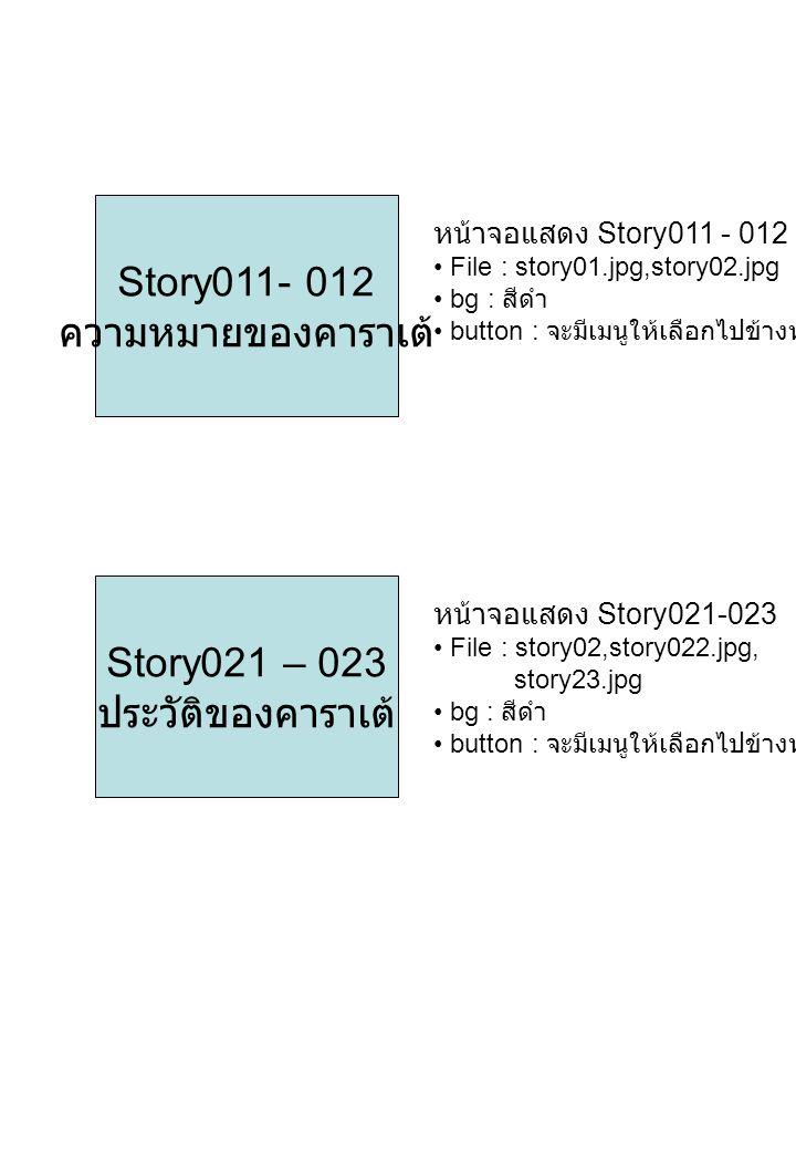 Story031 – 034 บัญญัติ 20 ประการ หน้าจอแสดง Story031-034 File : story031,story032.jpg, story033.jpg bg : สีดำ button : จะมีเมนูให้เลือกไปข้างหน้า - หลัง Story041 – 042 ปรมาจารย์ คาราเต้ หน้าจอแสดง Story041-042 File : story041,story042.jpg, bg : สีดำ button : จะมีเมนูให้เลือกไปข้างหน้า - หลัง
