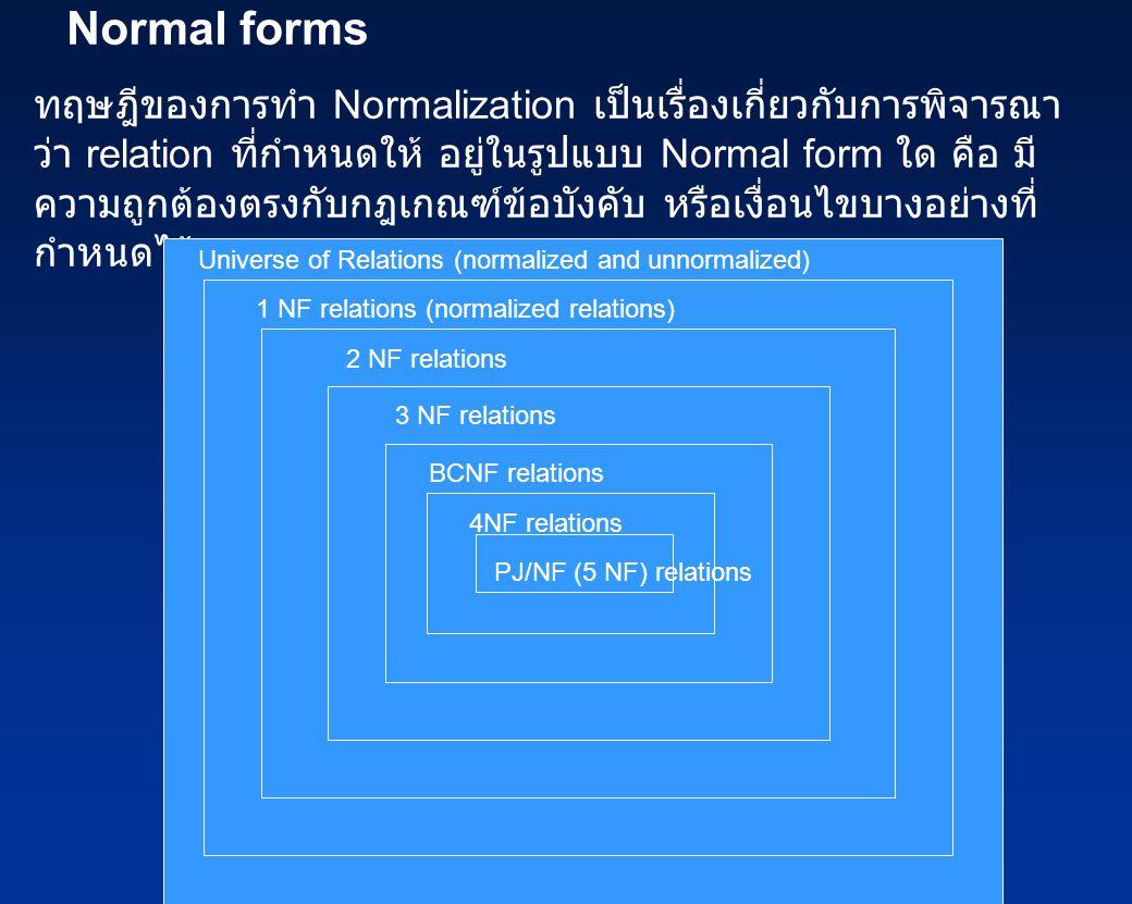 Normal forms ทฤษฎีของการทำ Normalization เป็นเรื่องเกี่ยวกับการพิจารณา ว่า relation ที่กำหนดให้ อยู่ในรูปแบบ Normal form ใด คือ มี ความถูกต้องตรงกับกฎ