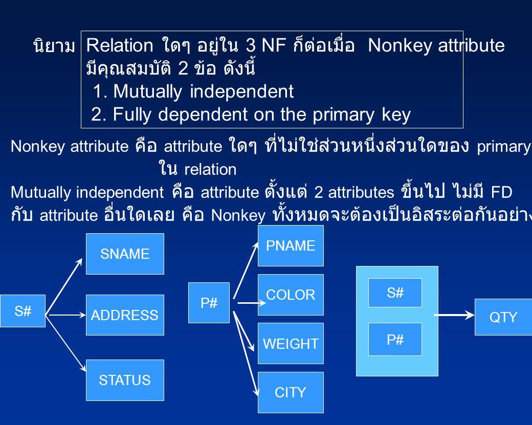 นิยาม Relation ใดๆ อยู่ใน 3 NF ก็ต่อเมื่อ Nonkey attribute มีคุณสมบัติ 2 ข้อ ดังนี้ 1.