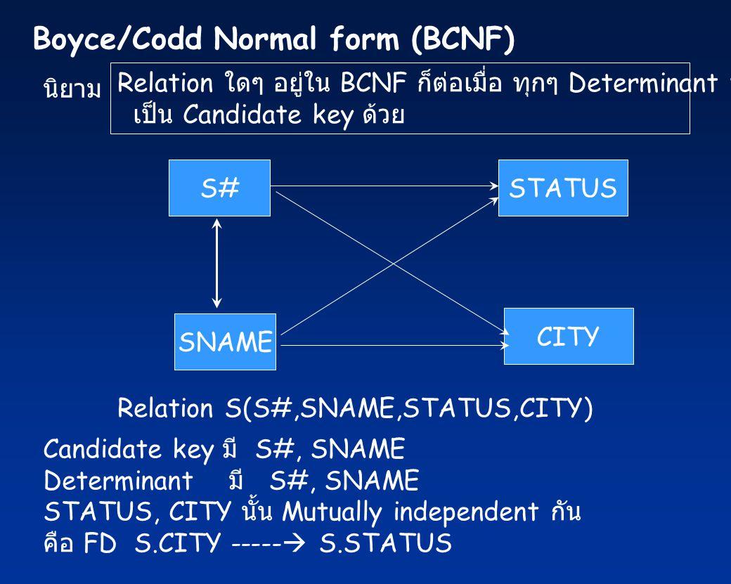 นิยาม Relation ใดๆ อยู่ใน BCNF ก็ต่อเมื่อ ทุกๆ Determinant ที่มีอยู่ เป็น Candidate key ด้วย S#STATUS CITY Relation S(S#,SNAME,STATUS,CITY) SNAME Candidate key มี S#, SNAME Determinant มี S#, SNAME STATUS, CITY นั้น Mutually independent กัน คือ FD S.CITY -----  S.STATUS Boyce/Codd Normal form (BCNF)