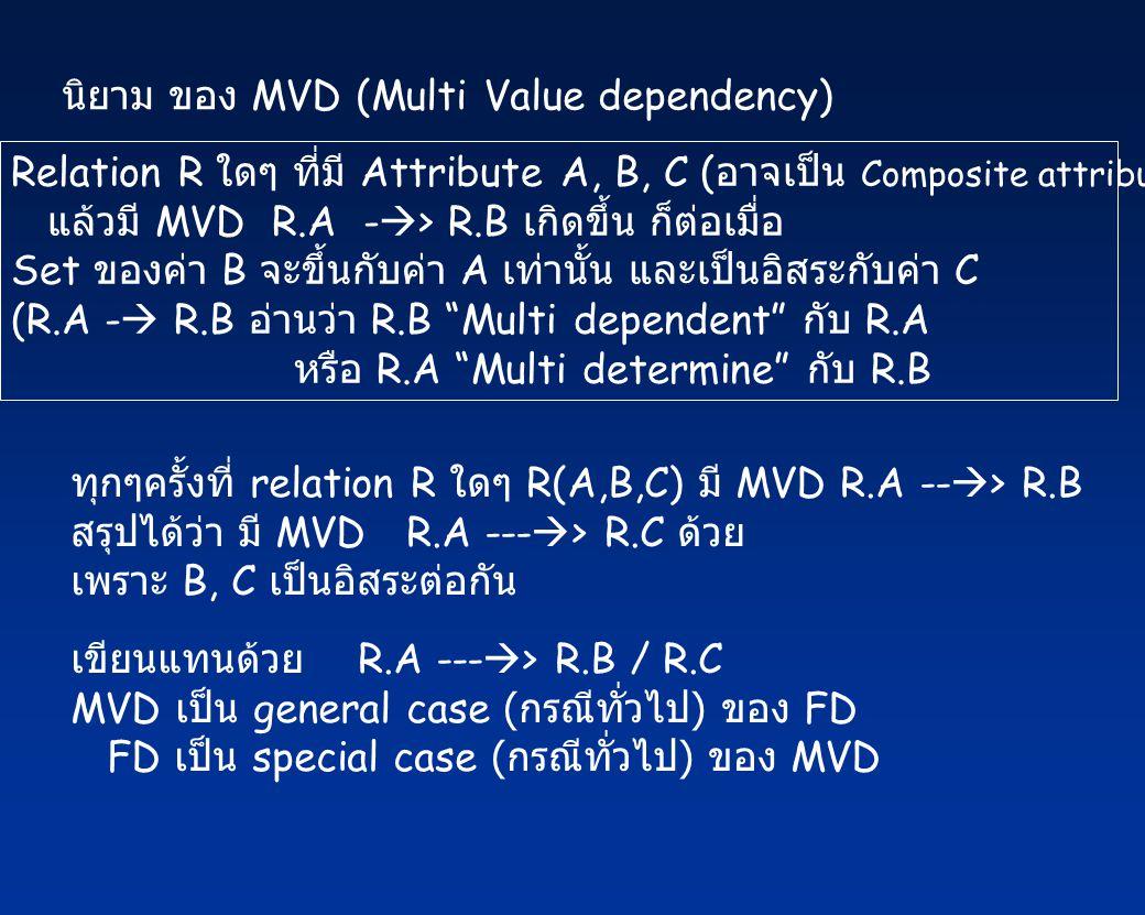 นิยาม ของ MVD (Multi Value dependency) Relation R ใดๆ ที่มี Attribute A, B, C ( อาจเป็น Composite attribute) แล้วมี MVD R.A -  > R.B เกิดขึ้น ก็ต่อเมื่อ Set ของค่า B จะขึ้นกับค่า A เท่านั้น และเป็นอิสระกับค่า C (R.A -  R.B อ่านว่า R.B Multi dependent กับ R.A หรือ R.A Multi determine กับ R.B ทุกๆครั้งที่ relation R ใดๆ R(A,B,C) มี MVD R.A --  > R.B สรุปได้ว่า มี MVD R.A ---  > R.C ด้วย เพราะ B, C เป็นอิสระต่อกัน เขียนแทนด้วย R.A ---  > R.B / R.C MVD เป็น general case ( กรณีทั่วไป ) ของ FD FD เป็น special case ( กรณีทั่วไป ) ของ MVD