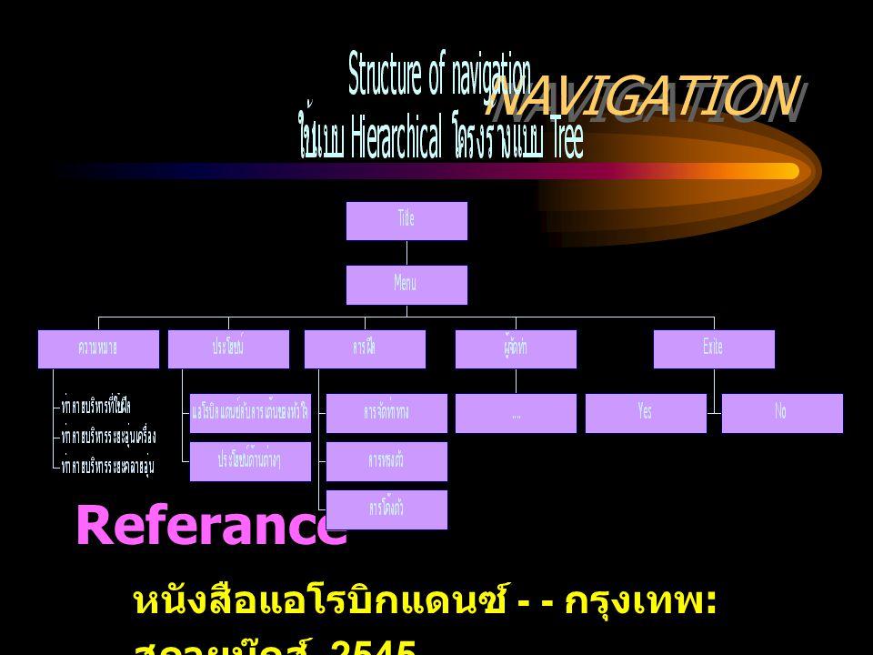 NAVIGATION Referance หนังสือแอโรบิกแดนซ์ - - กรุงเทพ : สกายบุ๊กส์, 2545
