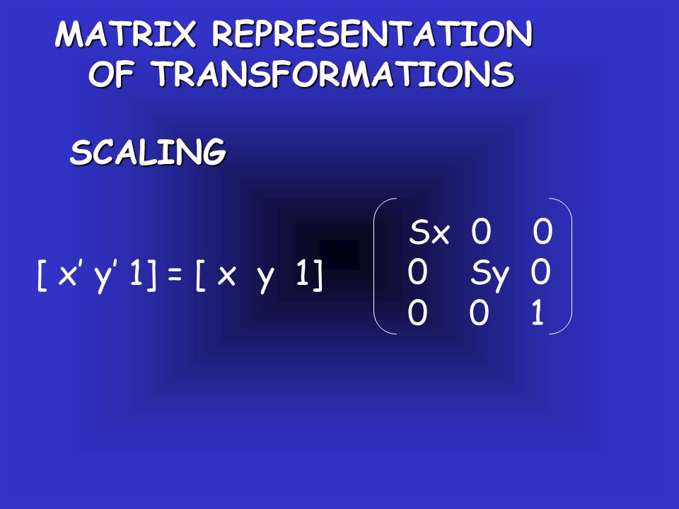 MATRIX REPRESENTATION OF TRANSFORMATIONS SCALING [ x' y' 1] = [ x y 1] Sx 0 0 0 Sy 0 0 0 1