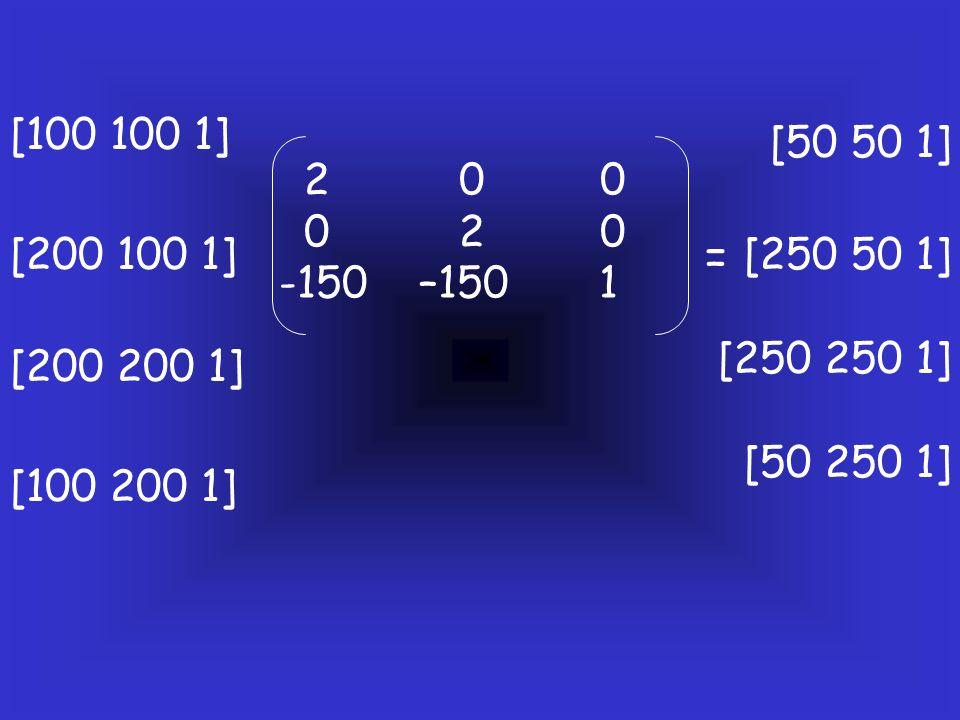 2 0 0 0 2 0 -150 –150 1 [100 100 1] [200 100 1] [200 200 1] [100 200 1] [50 50 1] [250 50 1] [250 250 1] [50 250 1] =