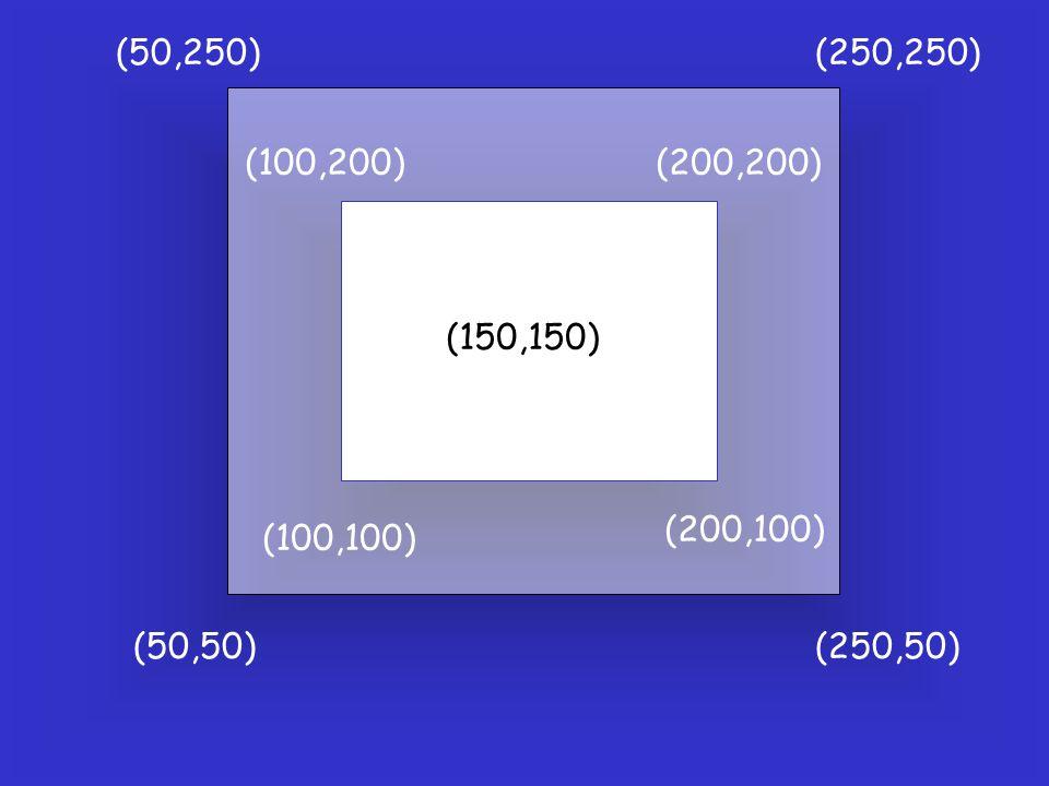 (100,100) (200,100) (200,200)(100,200) (150,150) (50,50)(250,50) (50,250)(250,250)
