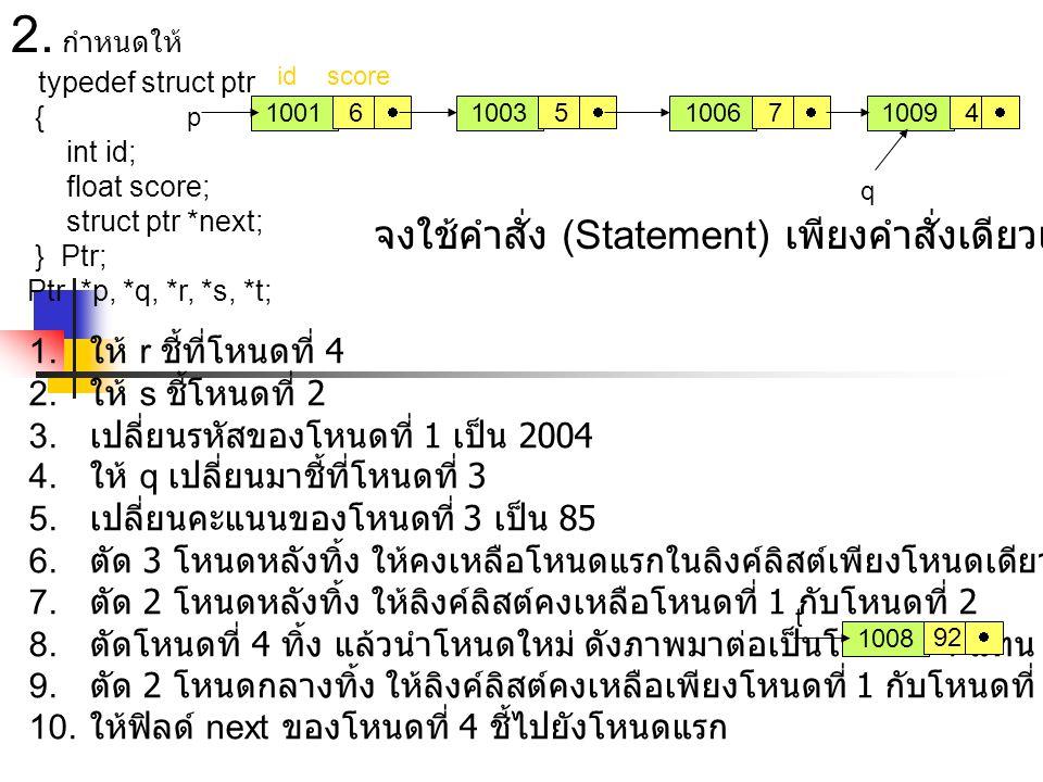 2. กำหนดให้ typedef struct ptr { int id; float score; struct ptr *next; } Ptr; Ptr *p, *q, *r, *s, *t; 100310091006 7 1001 456  1. ให้ r ชี้ที่โหน