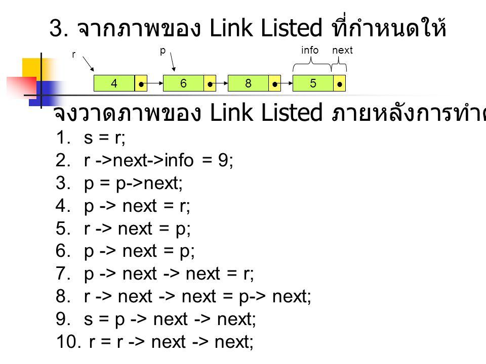  6  8  5  3. จากภาพของ Link Listed ที่กำหนดให้ 1.s = r; 2.r ->next->info = 9; 3.p = p->next; 4.p -> next = r; 5.r -> next = p; 6.p -> next = p; 7.
