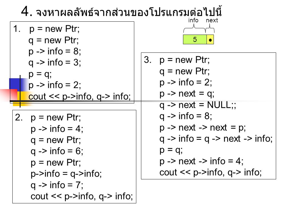 1.p = new Ptr; q = new Ptr; p -> info = 8; q -> info = 3; p = q; p -> info = 2; cout info, q-> info; 3.