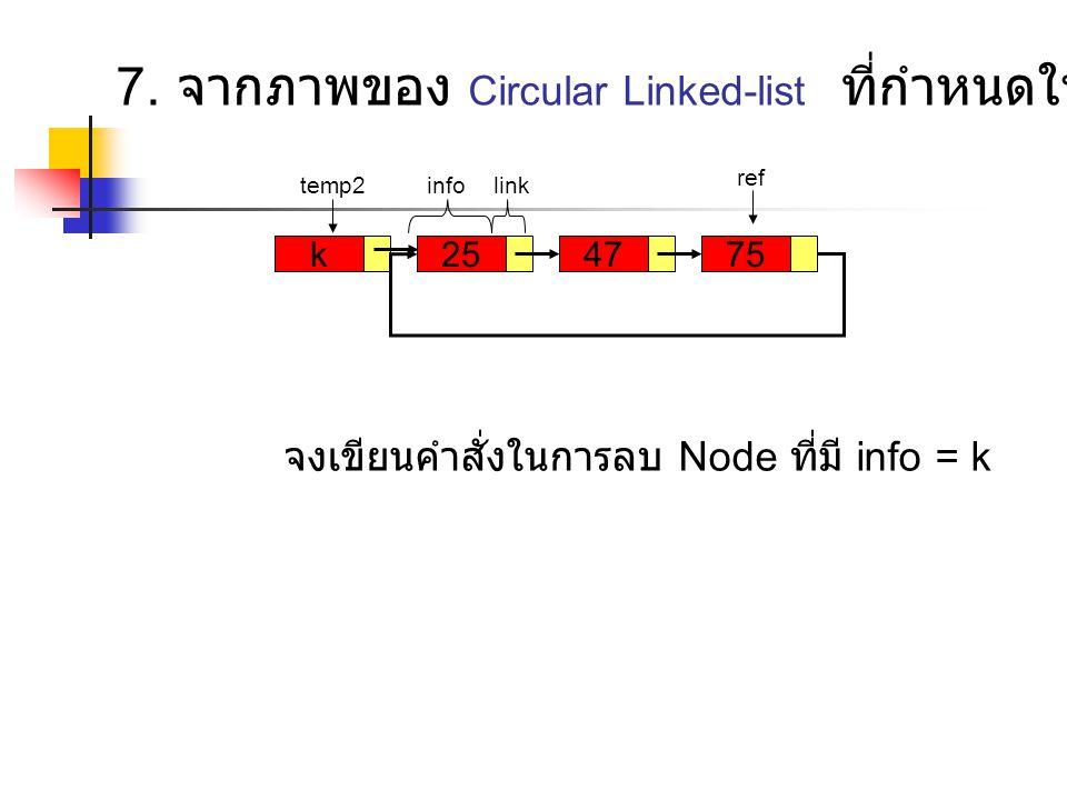 k257547 temp2 ref infolink 7. จากภาพของ Circular Linked-list ที่กำหนดให้ จงเขียนคำสั่งในการลบ Node ที่มี info = k