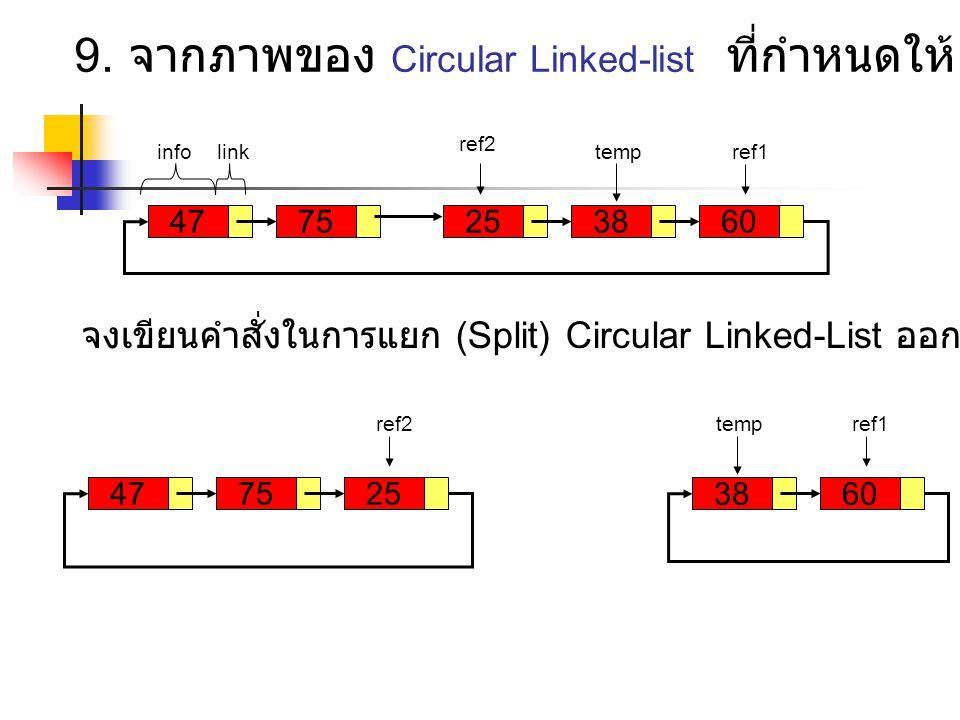 472575 ref2 infolink 6038 ref1temp 7547 ref2 256038 ref1temp 9. จากภาพของ Circular Linked-list ที่กำหนดให้ จงเขียนคำสั่งในการแยก (Split) Circular Link