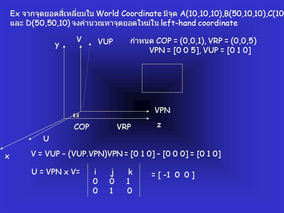 Ex จากจุดยอดสี่เหลี่ยมใน World Coordinate มีจุด A(10,10,10),B(50,10,10),C(10,50,10) และ D(50,50,10) จงคำนวณหาจุดยอดใหม่ใน left-hand coordinate COPVRP