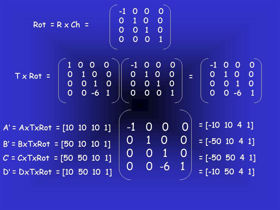 Rot = R x Ch = -1 0 0 0 0 1 0 0 0 0 1 0 0 0 0 1 T x Rot = -1 0 0 0 0 1 0 0 0 0 1 0 0 0 0 1 1 0 0 0 0 1 0 0 0 0 1 0 0 0 -6 1 -1 0 0 0 0 1 0 0 0 0 1 0 0