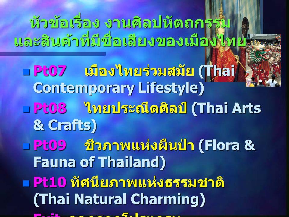 หัวข้อเรื่อง งานศิลปหัตถกรรม และสินค้าที่มีชื่อเสียงของเมืองไทย Pt07 เมืองไทยร่วมสมัย (Thai Contemporary Lifestyle) Pt07 เมืองไทยร่วมสมัย (Thai Contem
