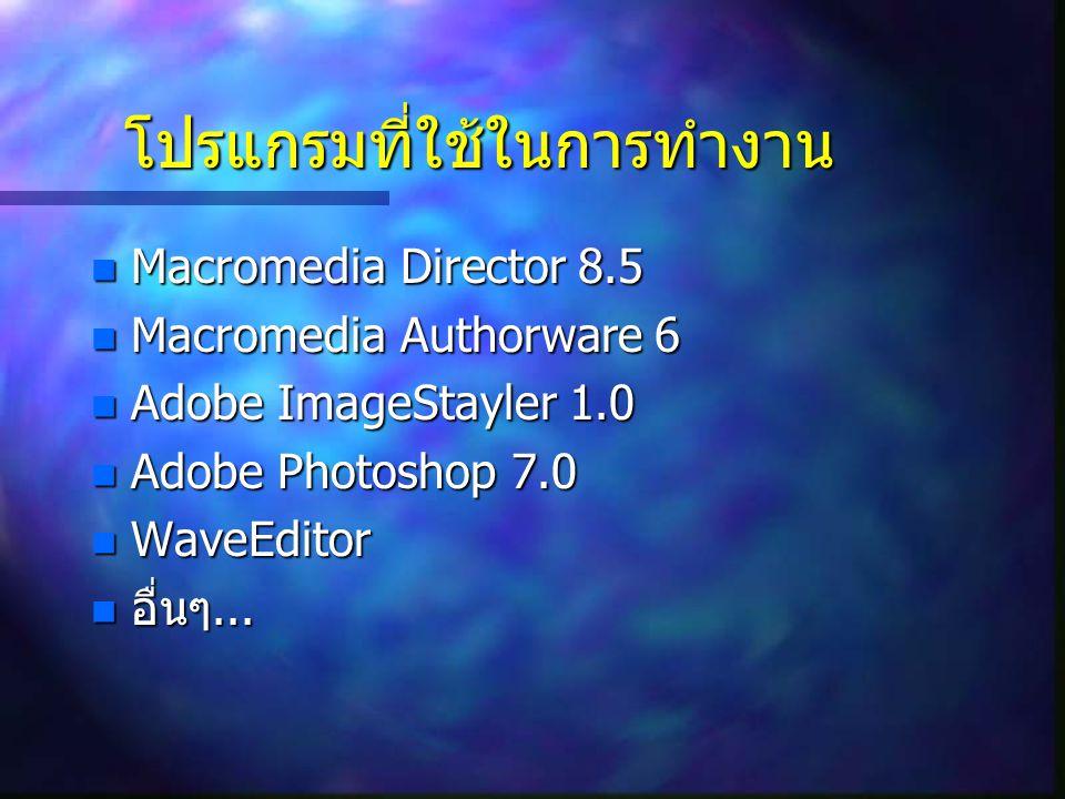 โปรแกรมที่ใช้ในการทำงาน Macromedia Director 8.5 Macromedia Director 8.5 Macromedia Authorware 6 Macromedia Authorware 6 Adobe ImageStayler 1.0 Adobe I