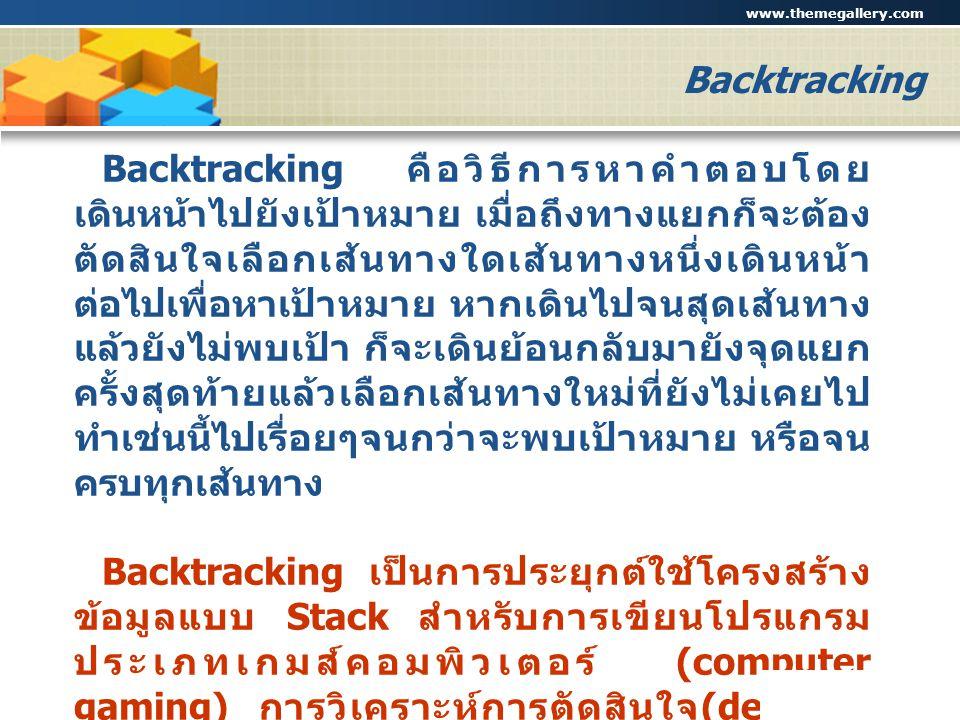 www.themegallery.com Company Logo Backtracking Backtracking คือวิธีการหาคำตอบโดย เดินหน้าไปยังเป้าหมาย เมื่อถึงทางแยกก็จะต้อง ตัดสินใจเลือกเส้นทางใดเส