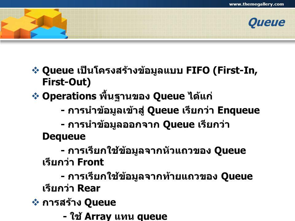 www.themegallery.com Company Logo Queue  Queue เป็นโครงสร้างข้อมูลแบบ FIFO (First-In, First-Out)  Operations พื้นฐานของ Queue ได้แก่ - การนำข้อมูลเข