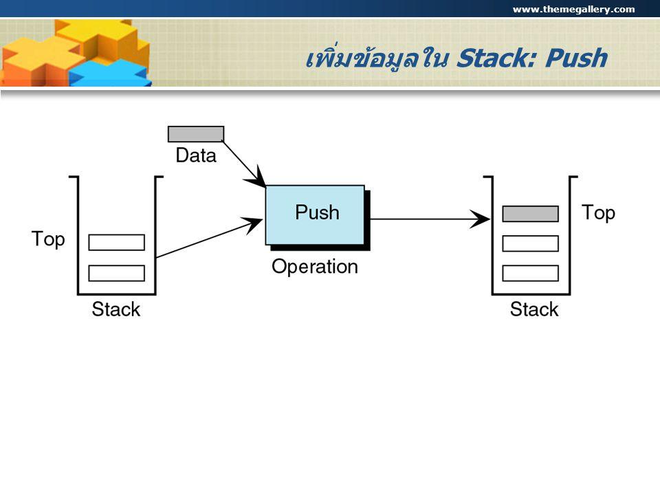 www.themegallery.com Company Logo เพิ่มข้อมูลใน Stack: Push