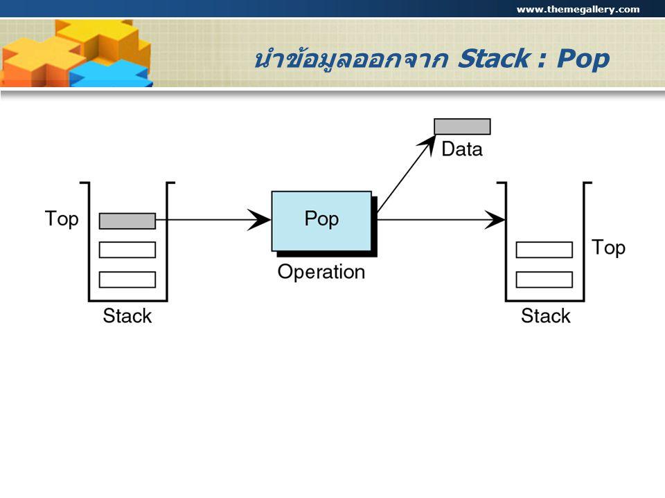 www.themegallery.com Company Logo นำข้อมูลออกจาก Stack : Pop