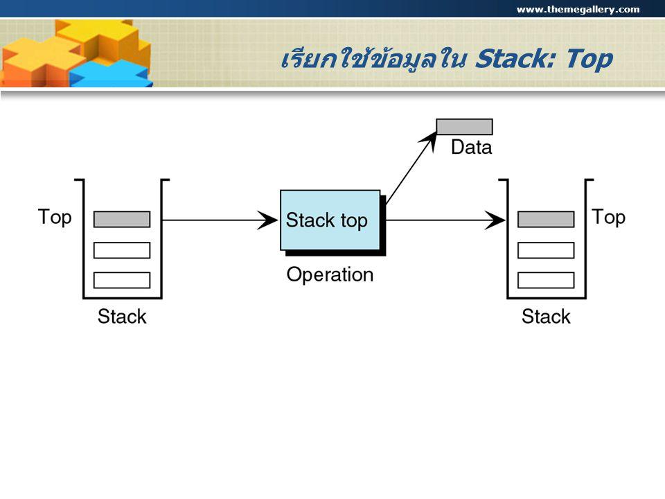 www.themegallery.com Company Logo เรียกใช้ข้อมูลใน Stack: Top